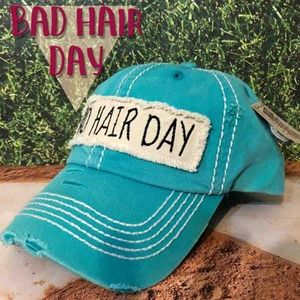 Bad Hair Day Teal Baseball Vintage Cap - One size
